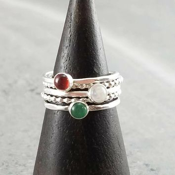 Stacking Ring Set Moonstone Aventurine and Garnet Holiday Colors