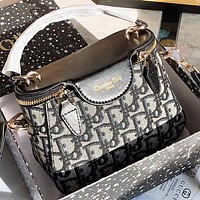 DIOR Fashion New More Letter Leather Shoulder Bag Women Handbag