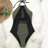 Army Green And Black Mesh Halter One piece Swimsuit