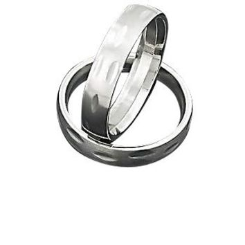 Men's 316L Stainless Steel  Engraved Rounded 5 mm Band Ring