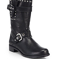 Stuart Weitzman - Trotter Studded Leather Mid-Calf Boots - Saks Fifth Avenue Mobile