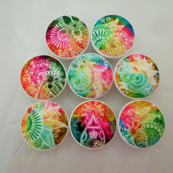 Set of 8 Tie Dye Paisley Cabinet Knobs
