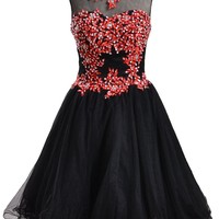 Meibida Short Appliques and Beaded Homecoming Dress Mini Party Evening Dress