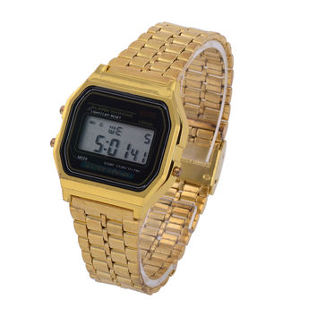 LED Vintage Metal Couple Digital Watch [6258154374]