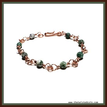 Handmade Copper and Jasper Bracelet - Size 8