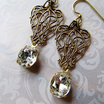Art Deco Bridal Earrings Art Nouveau Earrings Steampunk Earrings 1920s Earrings Crystal Wedding Earrings Filigree Earrings - Swirls