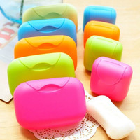 New fashion Small Candy Color Creative Handmade Travel Soap Box Waterproof with Cover Soap Dish