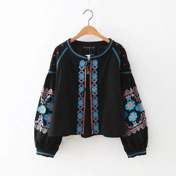 Fashion posters, heavy embroidery loose coat jacket
