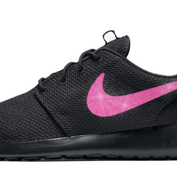 Nike Roshe One + Hand Customized Pink Glitter Swoosh - Black/Black
