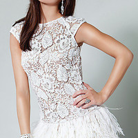 Prom Dresses, Celebrity Dresses, Sexy Evening Gowns at PromGirl: Short Illusion Lace & Feather Dress by Jovani