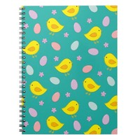 Cute Easter pattern with chickens, eggs, flowers Notebook
