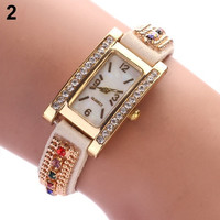 Women's Geneva Shell Face Faux Suede Shiny Rhinestone Square Dial Quartz Wrist Watch GIL = 1956938244