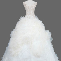Ball Gown V-neck Floor-length Organza Wedding Dress