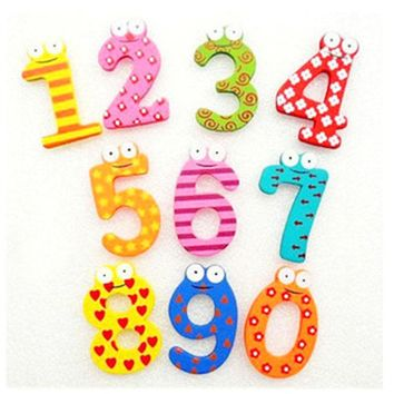 10Pcs New Cute Wooden Fridge Magnet Number 0-9 Kids Educational Toys MultiColor Building Blocks Baby Children DIY Kits