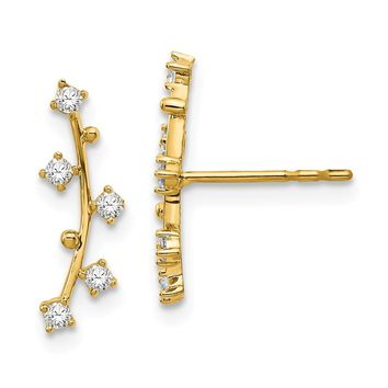 14K Yellow Gold Polished Bar with CZs Post Earrings