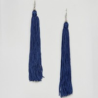 ASOS Royal Blue Statement Tassel Earrings at asos.com
