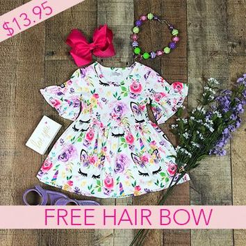 RTS Dresses For Girls Lavender Floral Unicorn Dress *Free Hair Bow D13