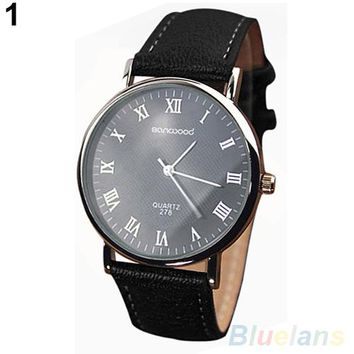 Roman Numeral Faux Leather Quartz Analog Watch