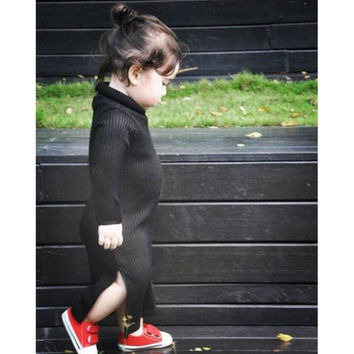 baby girls dress kids sweater dress knitted winter turtleneck sweater baby girl clothes black roupas pull enfant ropa ninos