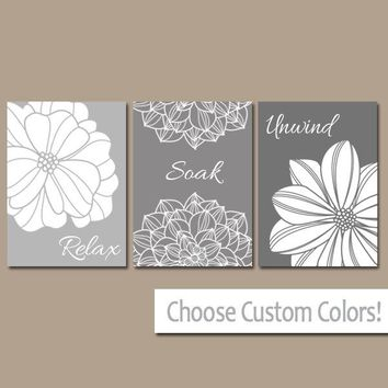 Gray BATHROOM Wall Art, Canvas or Prints, Bathroom Pictures, Relax Soak Unwind, Bathroom Quote, Flower Decor, Set of 3, Home Decor Pictures