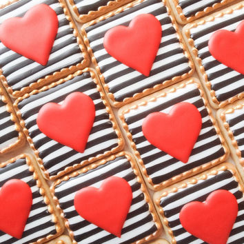 Black & White with red heart Cookies - One Dozen Decorated Sugar Cookies