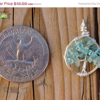 ON SALE Tiny Apatite Tree of Life Charm - Made to Order - Tree of Life Jewelry - Silver Plated Copper