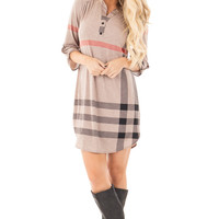 Mocha Plaid Tunic with Roll Up Sleeves