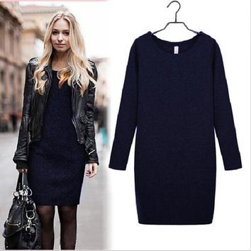 2018 Velvet Dress Autumn Winter Warm Dress Soft Fleece Slim Casual Dresses Long Sleeve O-Neck Women Dress Vestido De Inverno
