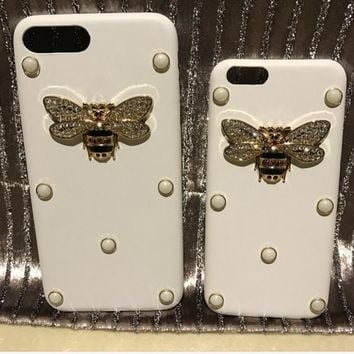 Fashion GUCCI BEE pearl iPhone Phone Cover Case For iphone 6 6s 6plus 6s-plus 7 7plus