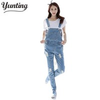 2017 Fall Fashion Brand Style Women Jeans Rompers Macacao Feminino Ripped Jumpsuit denim bib overalls women