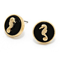 Black Seahorse Statement Earrings