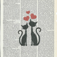 Giclee print Illustration of in love  kitten on Upcycle Vintage Page Book Print Art Print Dictionary Print Collage Print