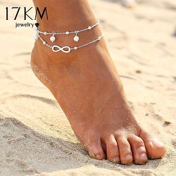 17KM Vintage Antique Silver Color Anklet Women Big Blue Stone Beads Bohemian Ankle Bracelet cheville Boho Foot Jewelry Macchar Cosplay Catalogue