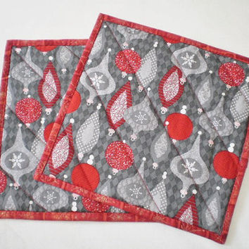 Holiday Hot Pads Trivets Grey Red Christmas Ornaments Pot Holders Christmas Basket Filler Handmade Quilted Secret Santa Gift Set of 2
