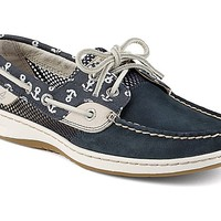 Bluefish Anchor Print 2-Eye Boat Shoe