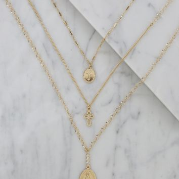 Madonna Layered Necklace Set in Gold