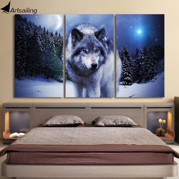 3 Pieces Canvas Art Paintings Printed Snow Wolf Moon Wall Art Print Canvas Paintings Home Decor For Living Room CU-1326C