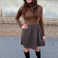 Mocha Chevron Turtleneck Dress