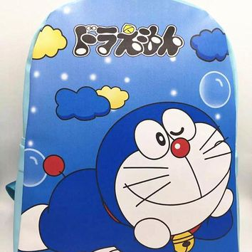 Cartoo Anime Doraemon fashion Leisure Preppy style man woman schoolbag PU cute Doraemon bags travel Backpack