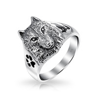 Bling Jewelry Wild Wolf Pack Ring