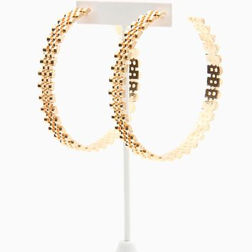 Rolex Chain Hoop Earrings - Gold
