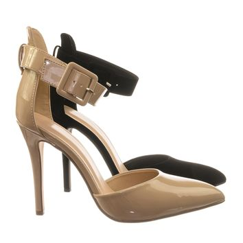 Sweep Ankle Strap Pointed Toe Dress Pump w Double Open Shank D'Orsay Cutout