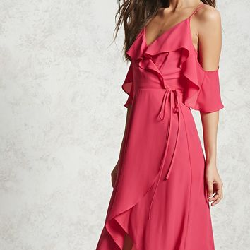 Ruffled High-Low Wrap Dress