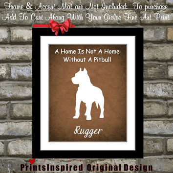 Custom Pit Bull Pitbull Art Print Gift: Personalized Pet Portrait Add ANY Breed Name Cute Silhouette Best Dog Lover Gift Pet Animal Wall Art