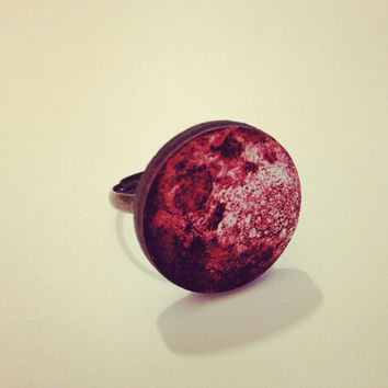 Red Full Moon Ring  by RabbitJewellery on Etsy
