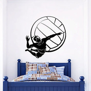 Wall Decals Boy Volleyball  Dispute Ball Vinyl Sticker Gym Bedroom Decor O106