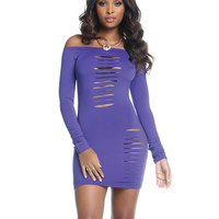 Off The Shoulder Long Sleeve Bodycon Dress W-chest & Thigh Slashes Purple Xl