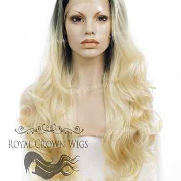 "26 inch Heat Safe Synthetic Lace Front ""Constance"" with Curly Texture in Rooted Platinum Blonde"