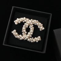 Dcck Double C Twisted Grain Rice Pearl Brooch With Evergreen