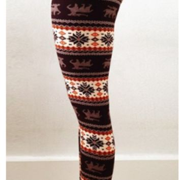 Christmas Snowflakes Deer Print Leggings B0014145